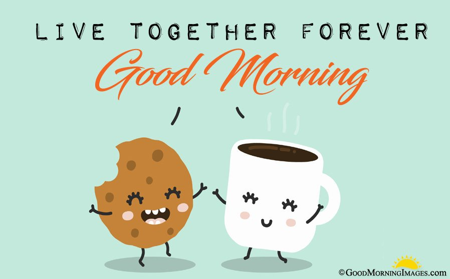 Animated Tea Cup and Cookie Good Morning Image With Message