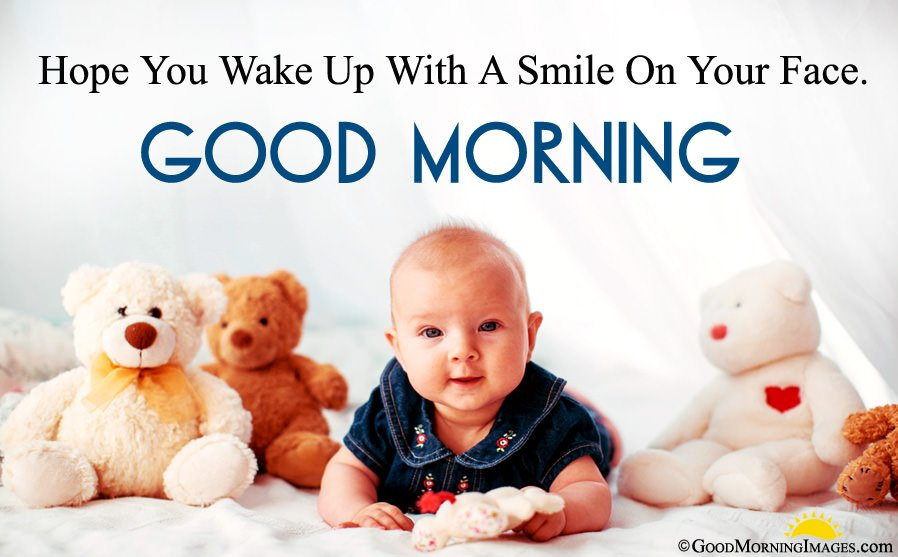 Baby With Toys Cute Wallpaper With Morning Wishes