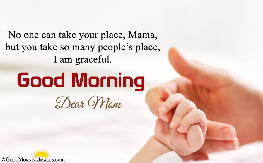 Beautiful Baby Hold Mothers Hand HD Image With Good Morning Mom Message