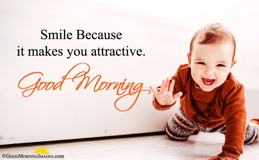 Cute Baby Smile Good Morning Picture With Wishes