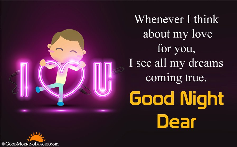 Cute I Love You Good Night Wishes Message With HD Wallpaper