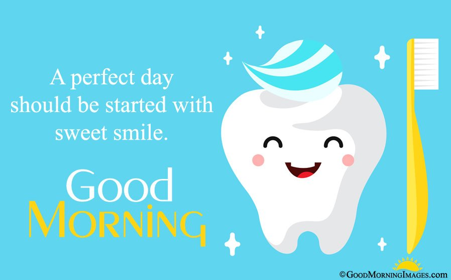 Cute Teeth Full Hd Image With Morning Sms Msg