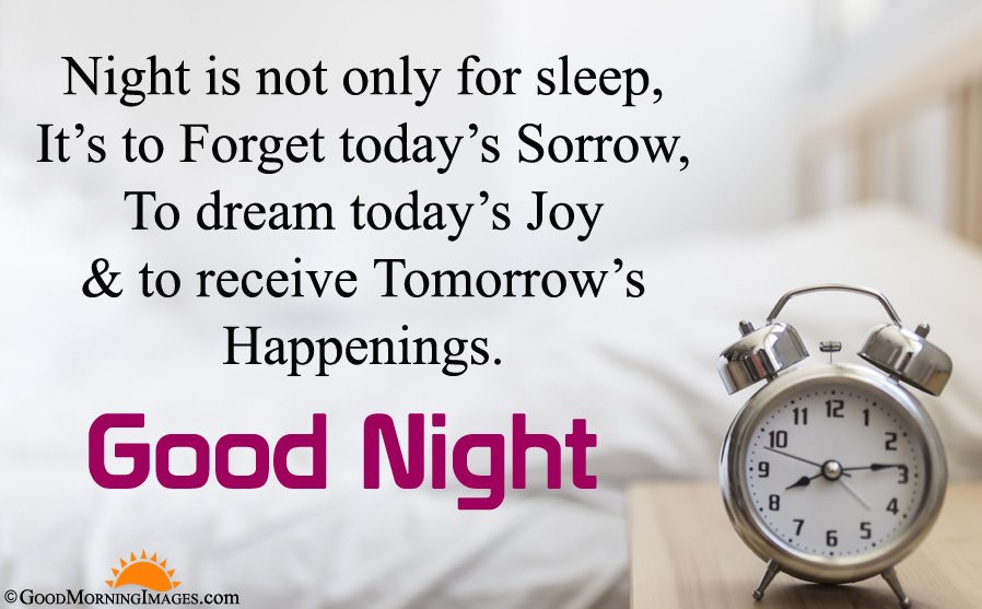Full HD Clock Image With Good Night Wishes Sms