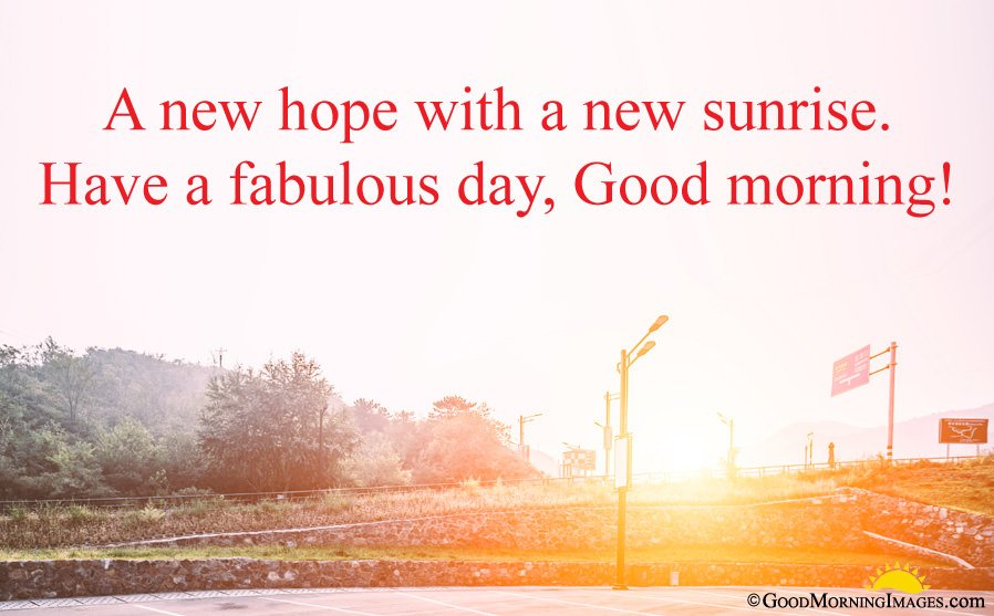 Full HD Sunrise Wallpaper With Good Morning New Hope Message