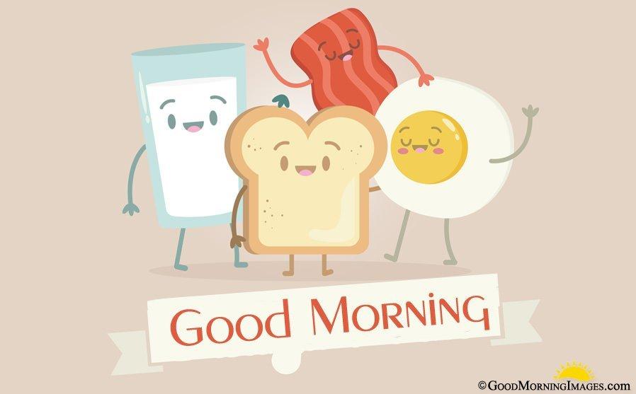 Good Morning Animated Breakfast Cute Wallpaper