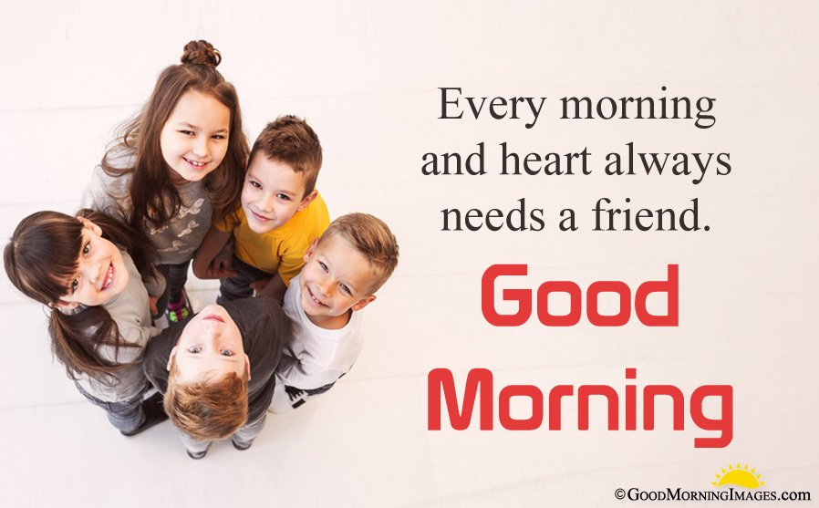 Good Morning Message With Kids Friends Group Wallpaper