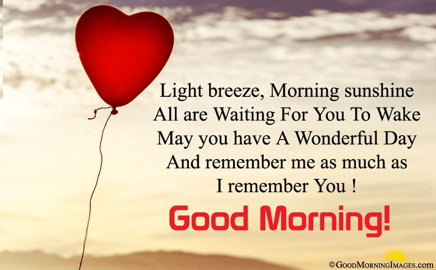 Good Morning Wishes For Girlfriend With Heart Balloon Wallpaper