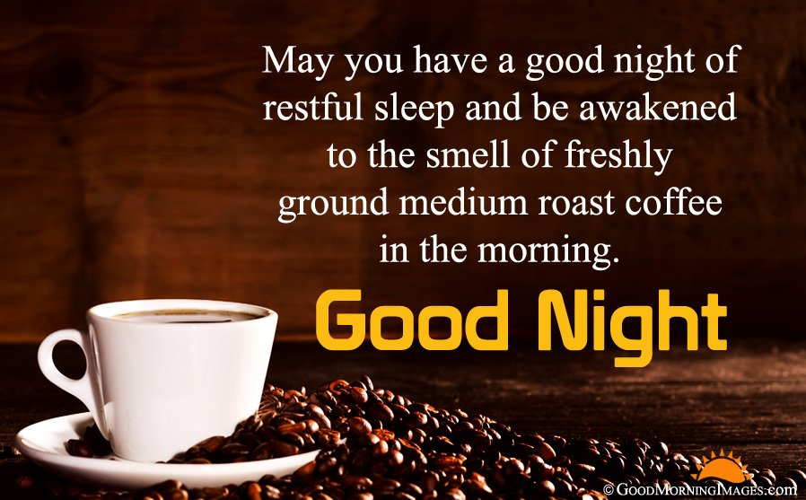 Good Night Message With HD Coffee Wallpaper