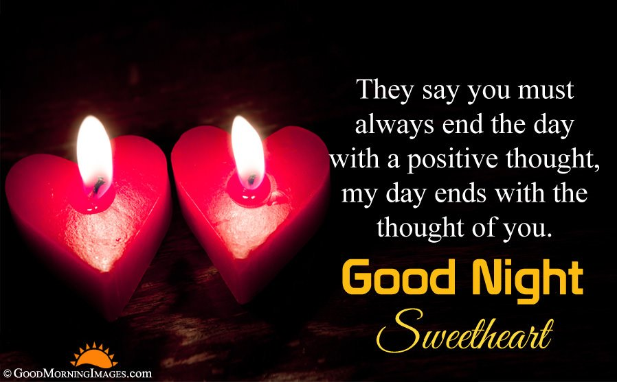 Good Night Wishes Quote With Heart Candle Wallpaper