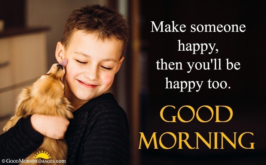 Gud Morning Wishes Quote With Happy Cute Kid Image
