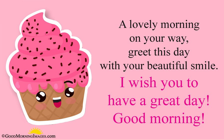 Latest Sweet Good Morning Message Sms With Cute Cupcake HD Image