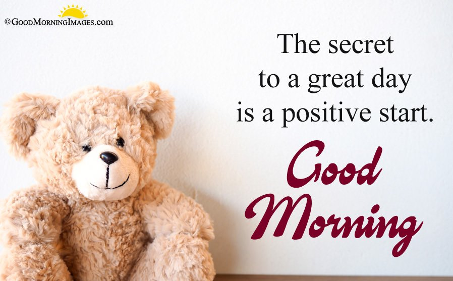 Positive Good Morning Quote With Full HD Teddy Bear Wallpaper