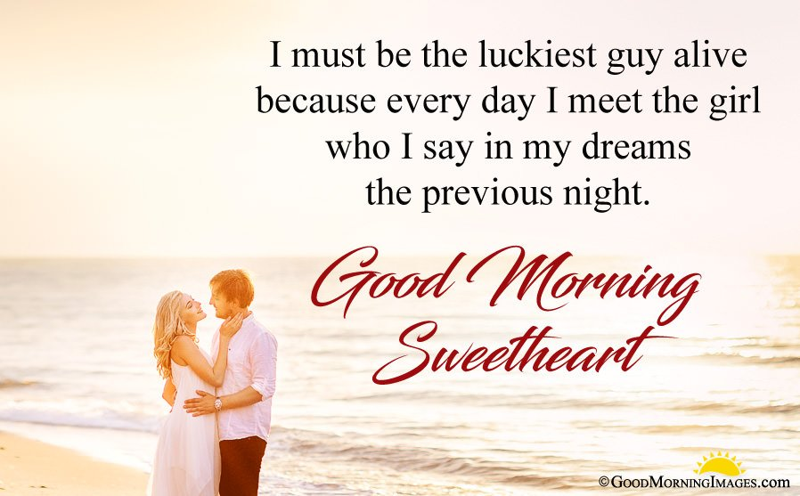 Romantic Couple Beach Image With Morning Wishes