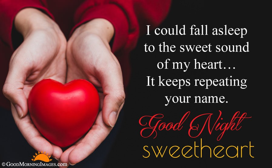 Sweet Good Night Wishes For Girlfriend Boyfriend With Holding Heart HD Wallpaper