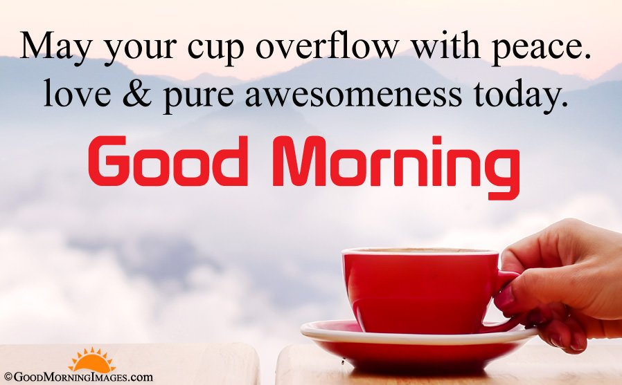 Best Good Morning Peaceful Quote With Tea Cup Wallpaper
