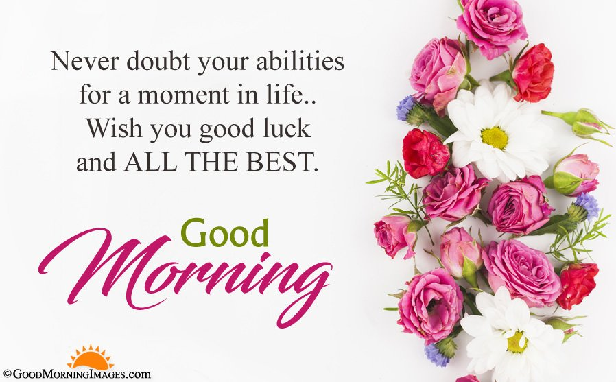 Motivational Good Morning All The Best Wishes Quote With Flower HD Wallpaper