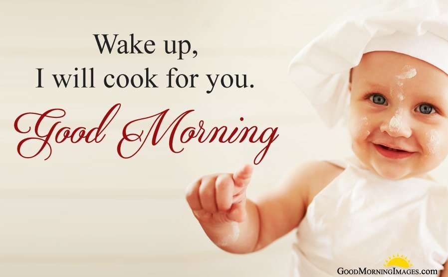 Little Baby Girl Image with Cook Good Morning Quote